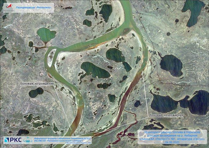 Масштаб разлива ДТ в Норильске теперь можно посмотреть со спутника
